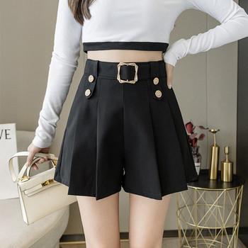 Дамски панталони с висока талия и колан в черен цвят
