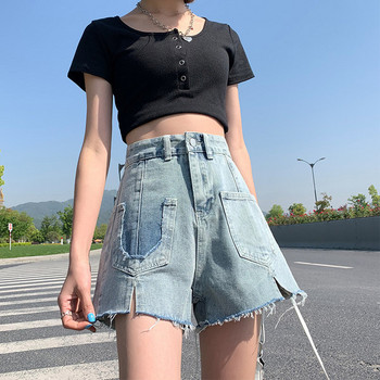 Широки дънки с висока талия и джобове