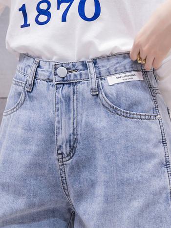 Дамски дънкови летни панталони с висока талия