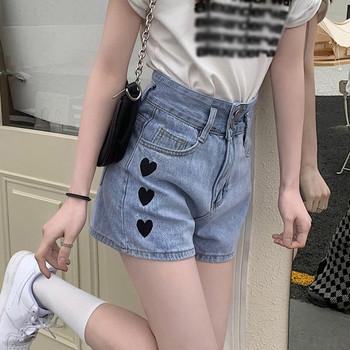 Модерни дамски къси деним панталони с бродерия