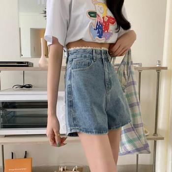 Къс дамски деним панталон с висока талия широк модел