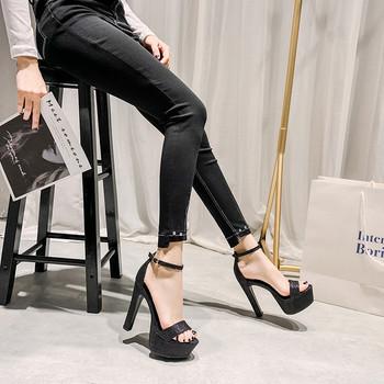 Елегантни дамски сандали с катарама и висок 12.5см ток