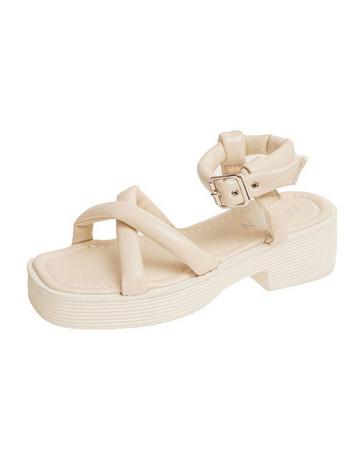 Дамски модерни сандали с висока равна подметка
