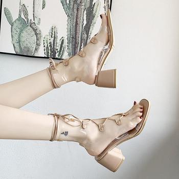 Модерни дамски сандали на ток с дълги връзки