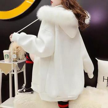 Дамски ежедневен суичър  с цип и пух - широк модел