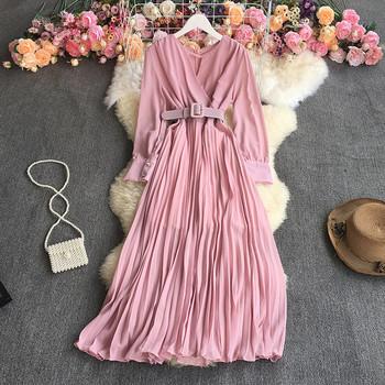 Дамска модерна рокля с дълъг ръкав и V-образно деколте
