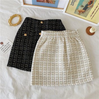 Модерна дамска пола от туид с висока талия и златисти копчета