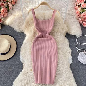 Дамска рокля с квадратно деколте и дънки презрамки