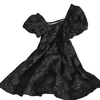 Модерна дамска рокля с квадратно деколте и перли