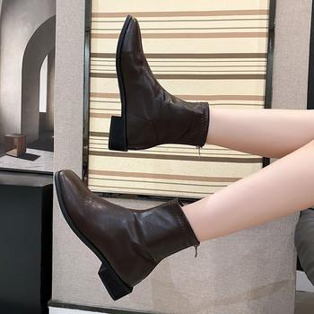 Дамски актуални боти изчистен модел от еко кожа