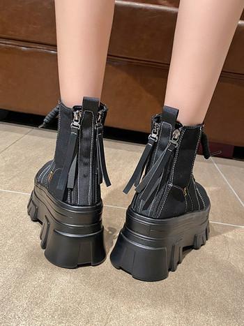 Дамски модерни боти с висока подметка и връзки