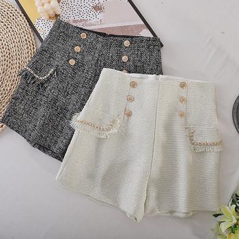 Дамски модерни къси панталони с камъни и висока талия