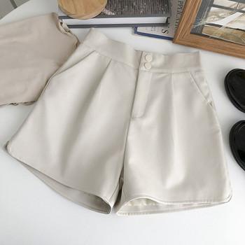 Кожен къс панталон с копчета