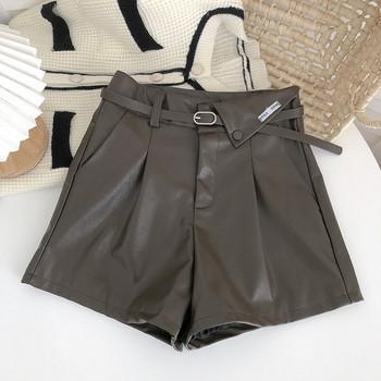 Кожени къси панталони с колан