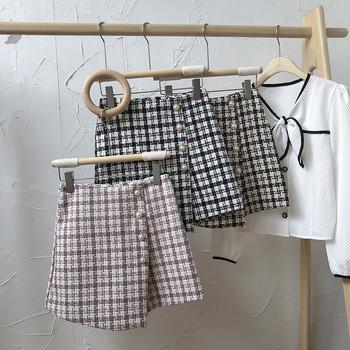 Кариран къс панталон с копчета и висока талия