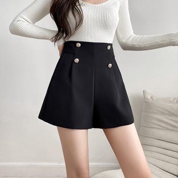 Къси панталони  с висока талия в черен цвят