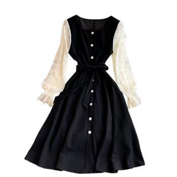 Дамска модерна рокля с копчета и колан в черен цвят