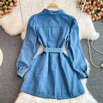 Дамска дънкова рокля с колан и джобове