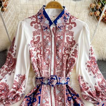 Дамска рокля с цветен принт и колан