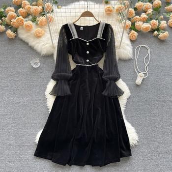 Дамска рокля с дълъг ръкав в черен  цвят