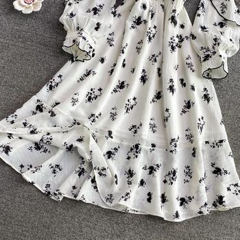 Дамска стилна рокля с ластична талия и панделка