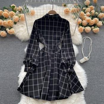 Дамска ежедневна карирана рокля с класическа яка
