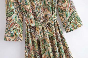 Дамска рокля с флорален десен и колан
